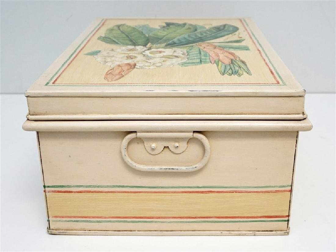 HAND PAINTED METAL CHEST ON STAND - 5