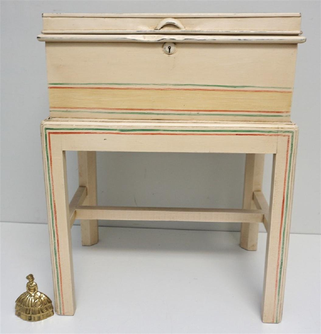 HAND PAINTED METAL CHEST ON STAND - 7