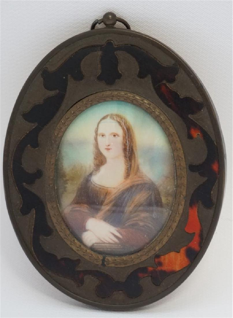 HAND PAINTED PORTRAIT MINIATURE - MONA LISA