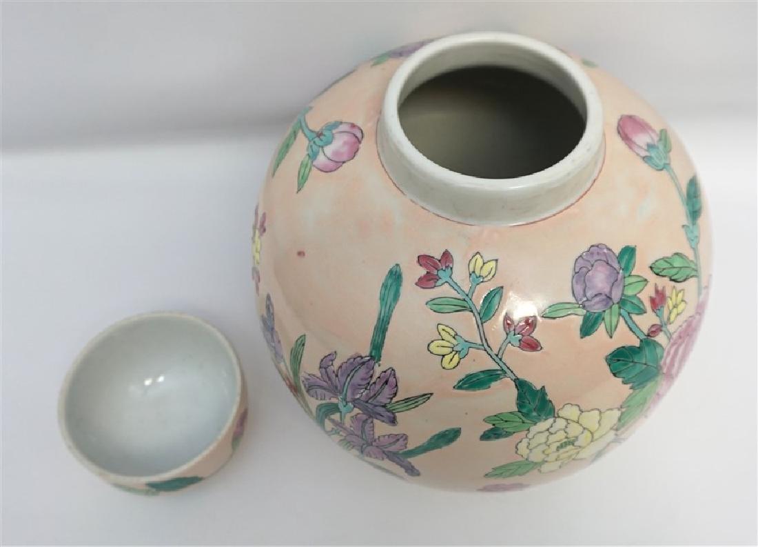 LARGE CHINESE EXPORT IRIS & PEONY GINGER JAR - 6