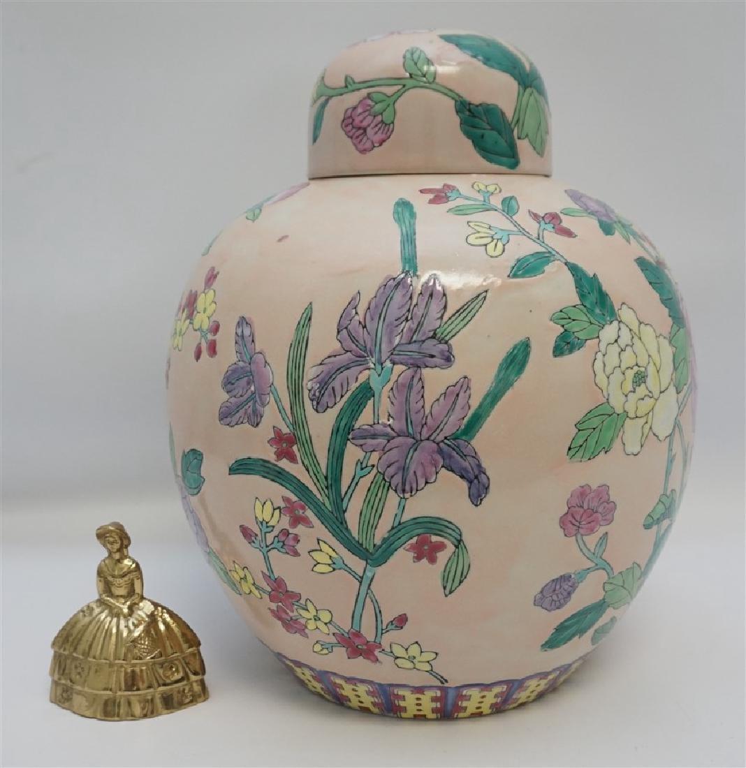 LARGE CHINESE EXPORT IRIS & PEONY GINGER JAR - 8