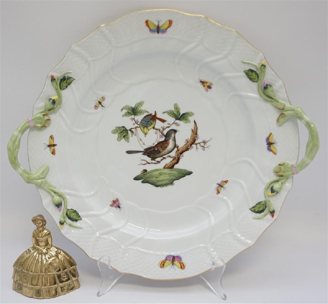 HEREND ROTHSCHILD CHOP PLATE w HANDLES - 6