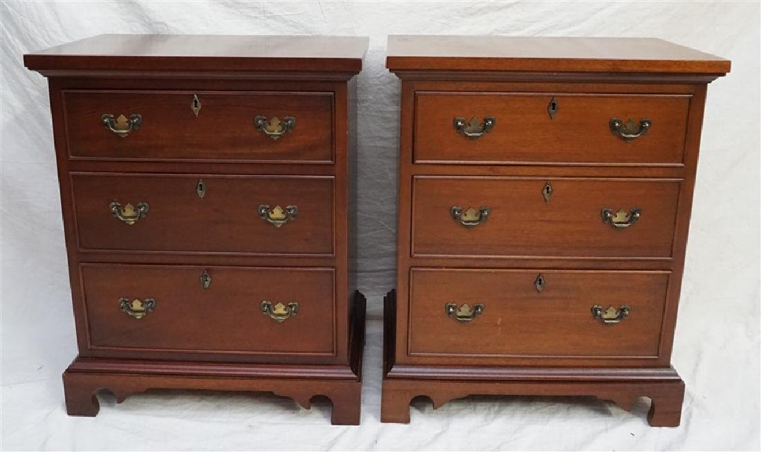 PAIR CRAFTIQUE SOLID MAHOGANY BED SIDE CHESTS