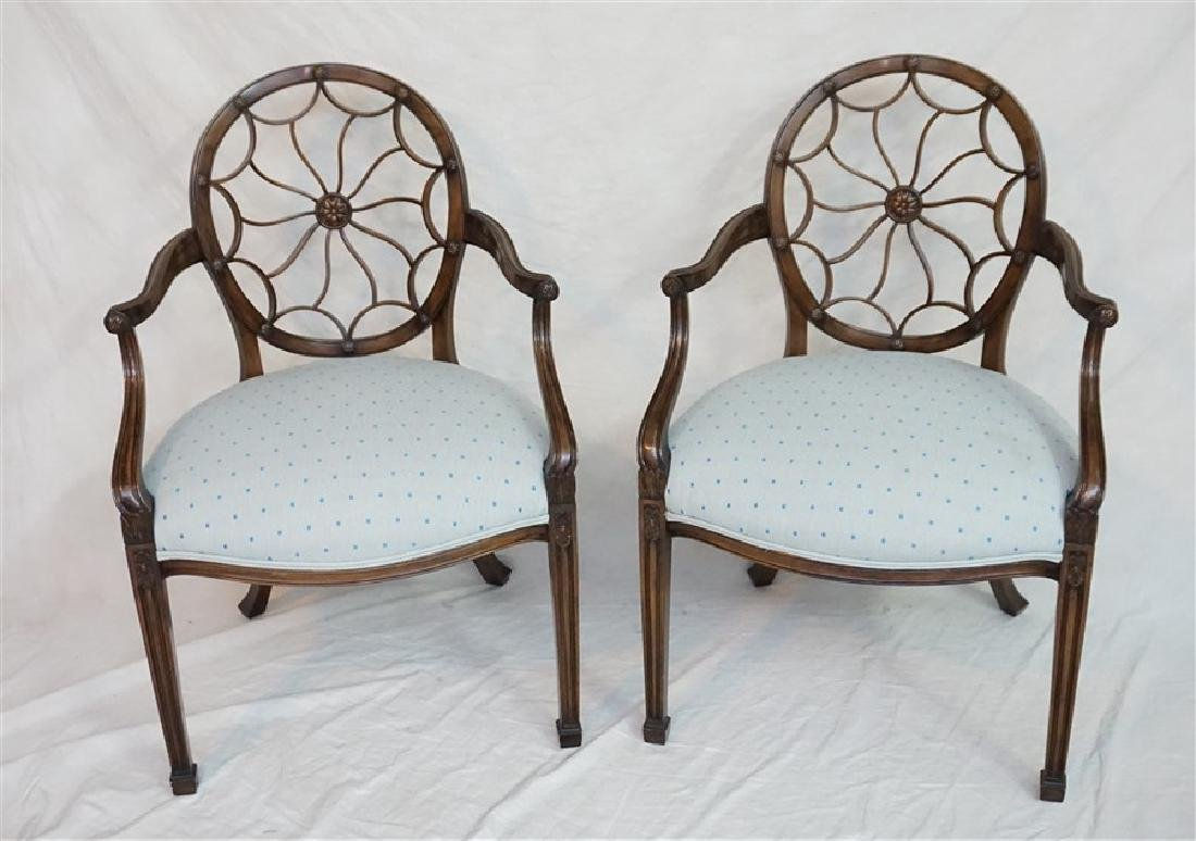 PAIR HEPPLEWHITE WHEELBACK ARM CHAIRS - SMITH & WATSON