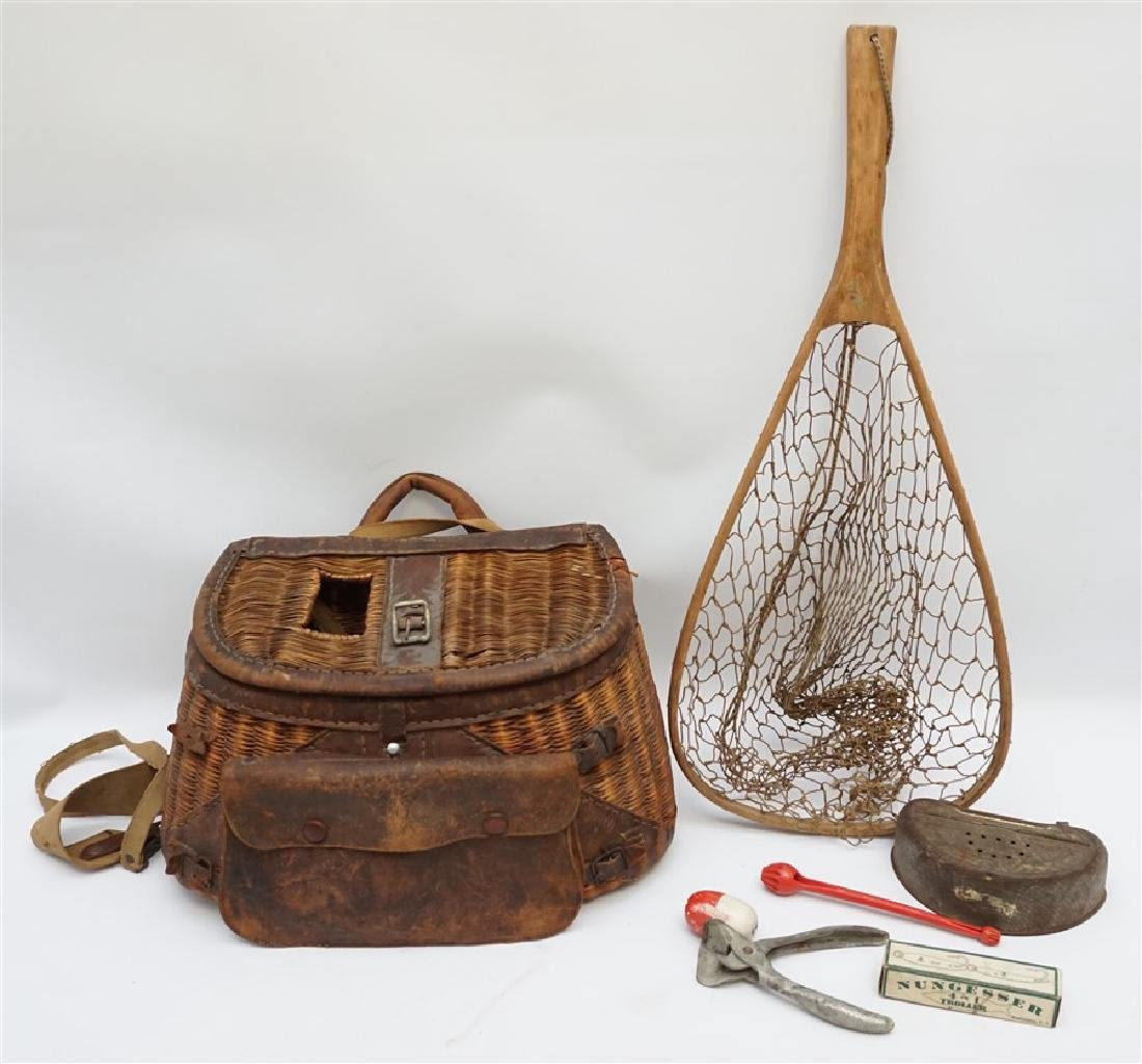 ANTIQUE FISHERMANS TROUT & FLY FISHING CREEL & NET