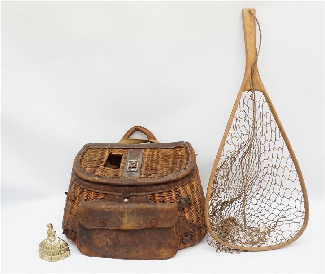 ANTIQUE FISHERMANS TROUT & FLY FISHING CREEL & NET - 8