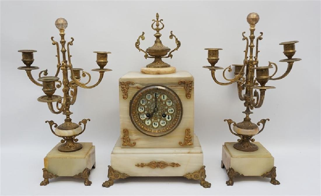FRENCH ONYX CLOCK WITH GARNITURE