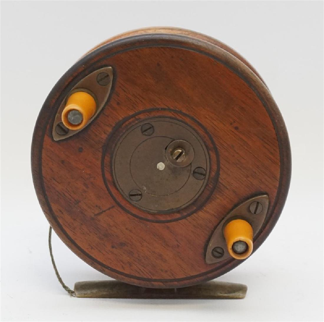 "3.75"" STARBACK BRASS & WOOD FISHING REEL"