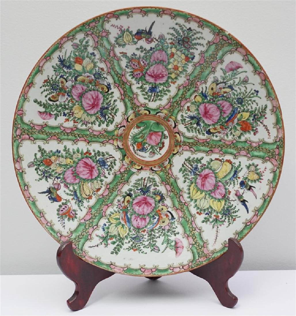 CHINESE EXPORT LARGE ROSE CANTON CHARGER