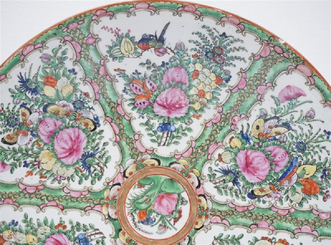 CHINESE EXPORT LARGE ROSE CANTON CHARGER - 3