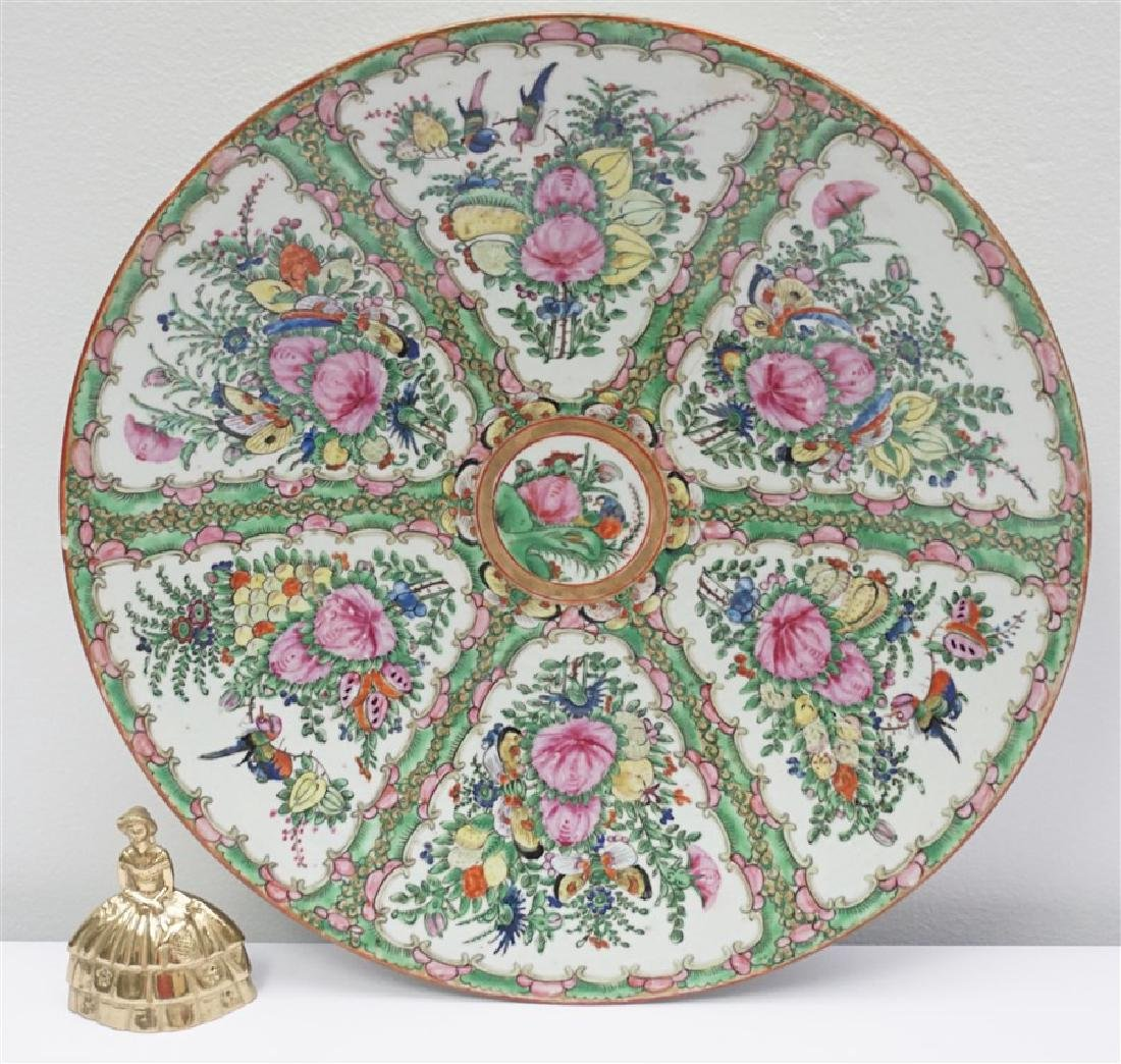 CHINESE EXPORT LARGE ROSE CANTON CHARGER - 7