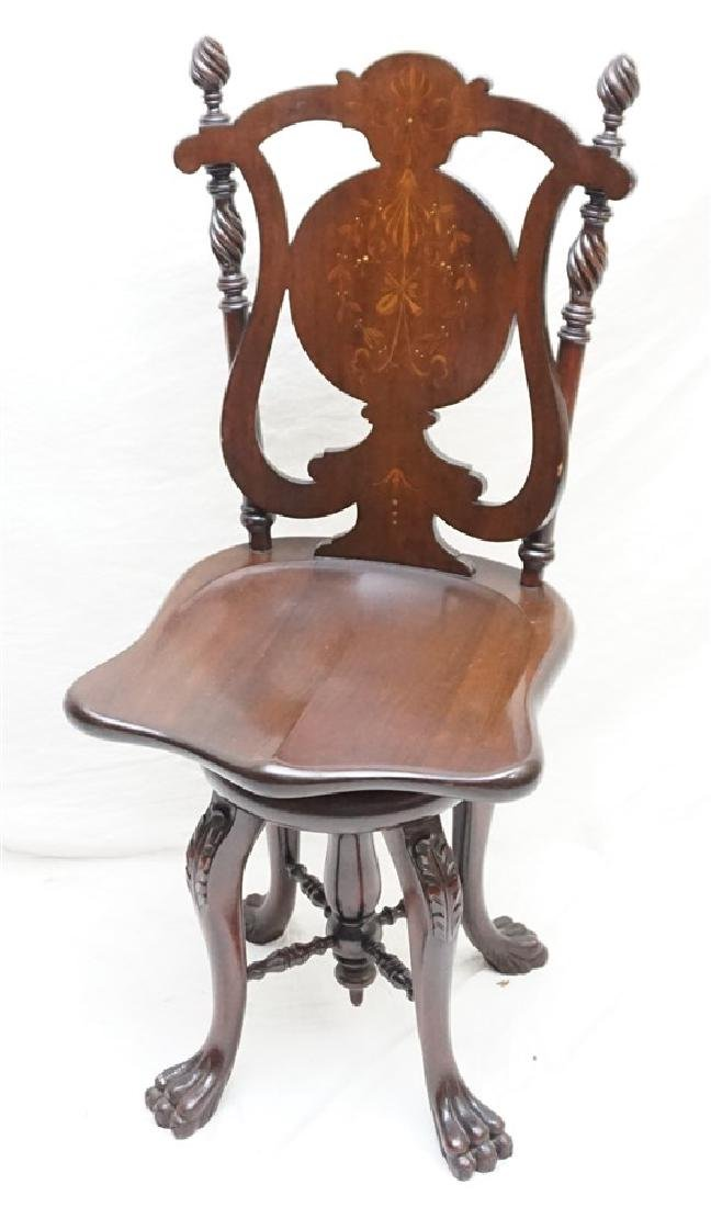 VICTORIAN INLAID MARQUETRY PAW FOOT MUSICIANS CHAIR