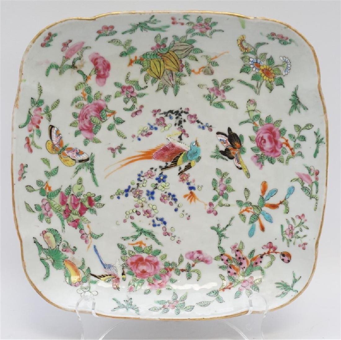 19th c. CHINESE FAMILLE ROSE CANTON DISH