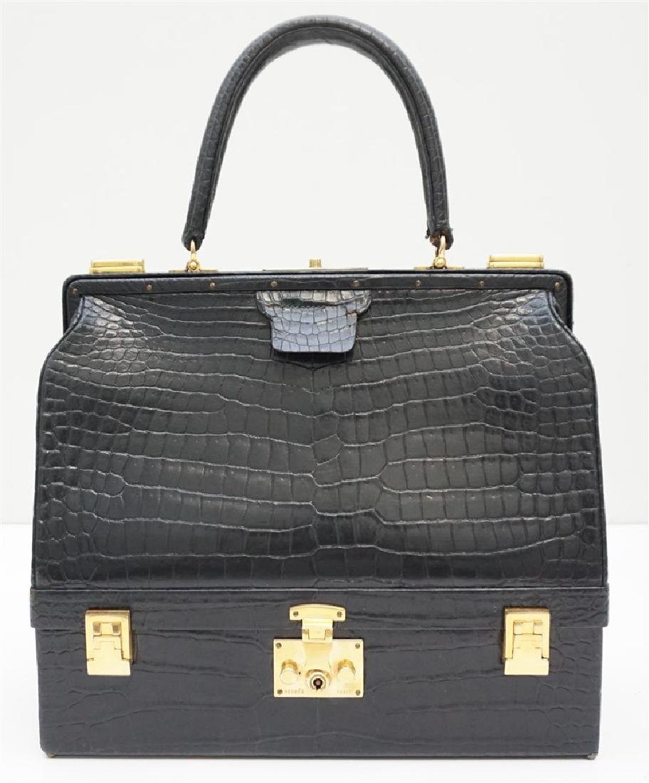 VINTAGE HERMES SAC MALLETTE BAG CROCODILE NOIR
