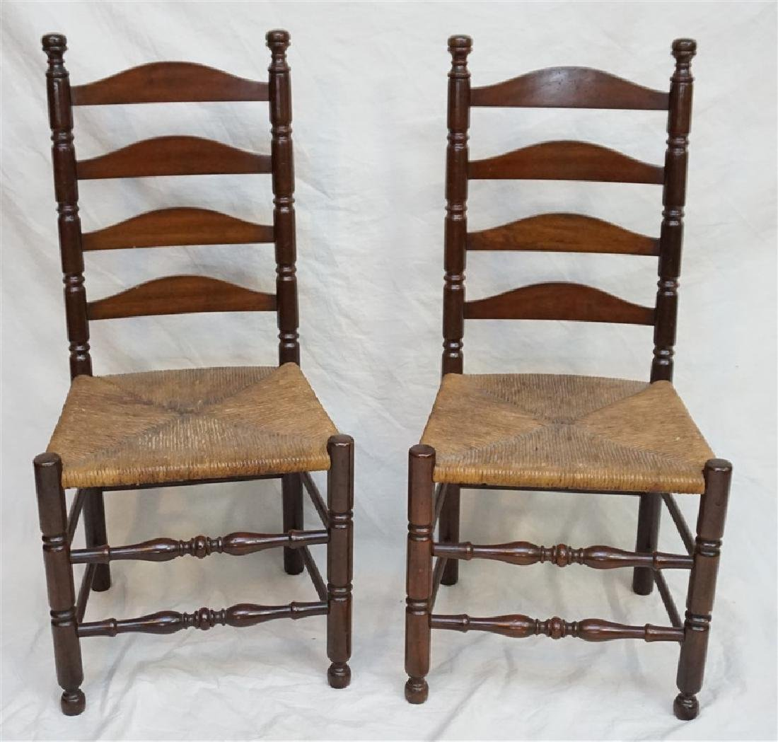 2 LADDER BACK RUSH SEAT CHAIRS