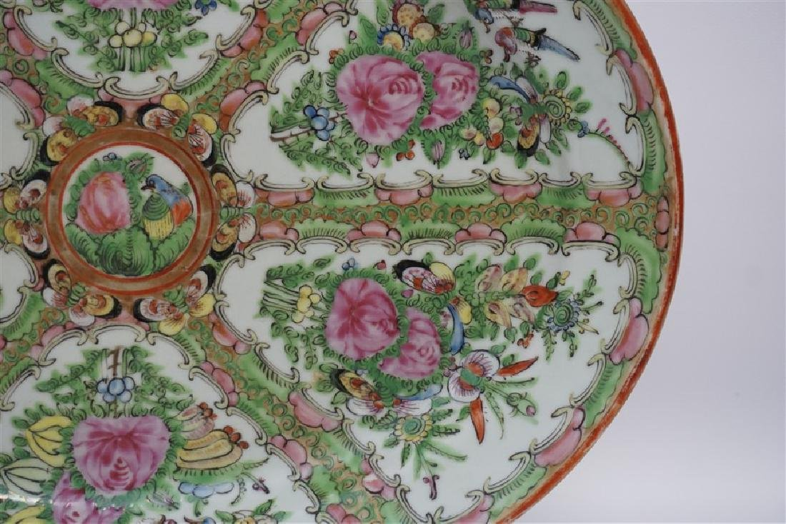 CHINESE EXPORT LARGE ROSE CANTON PLATTER - 4