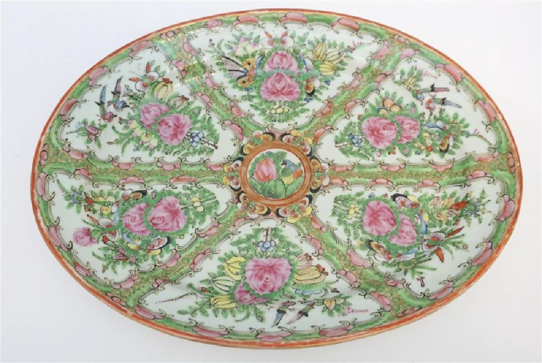 CHINESE EXPORT LARGE ROSE CANTON PLATTER - 5