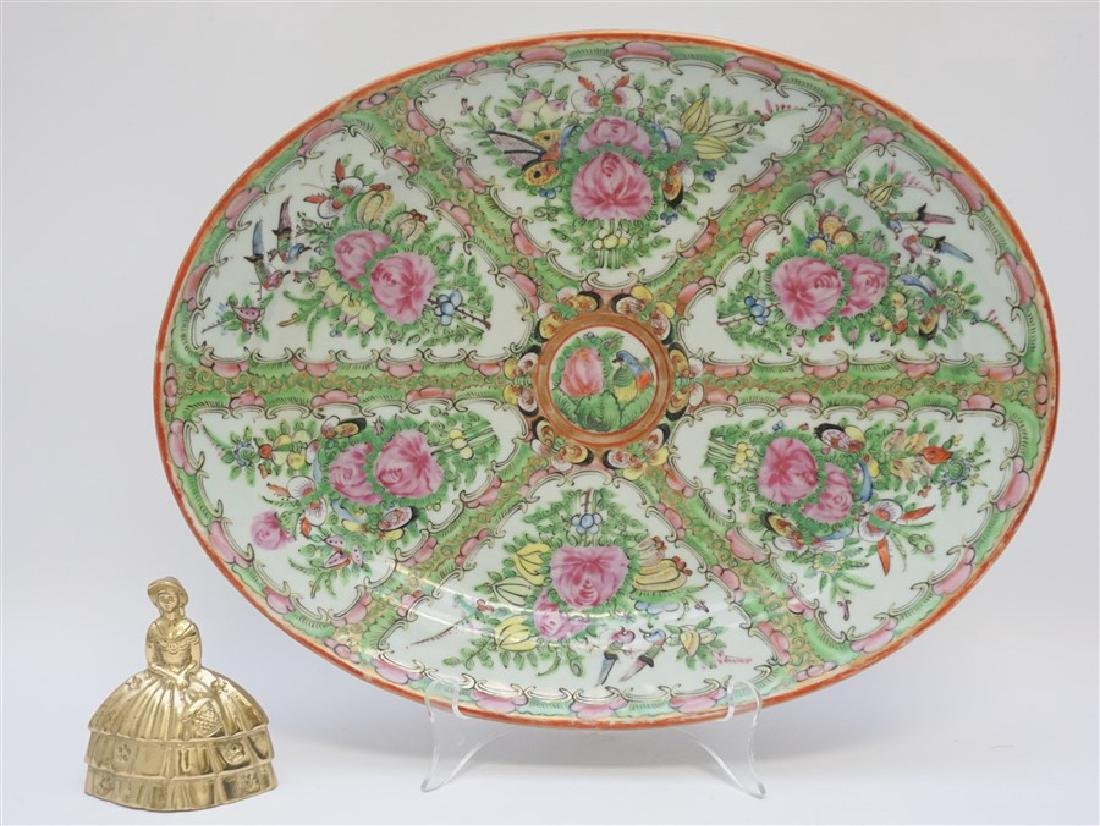 CHINESE EXPORT LARGE ROSE CANTON PLATTER - 9