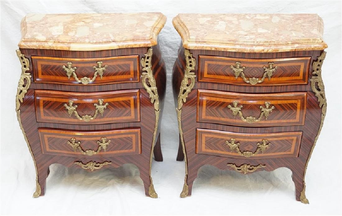 PAIR FRENCH LOUIS XV STYLE ORMOLU MOUNTED NIGHTSTANDS