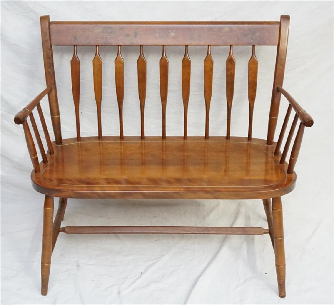 NICHOLS & STONE STENCILED MAPLE DEACONS BENCH