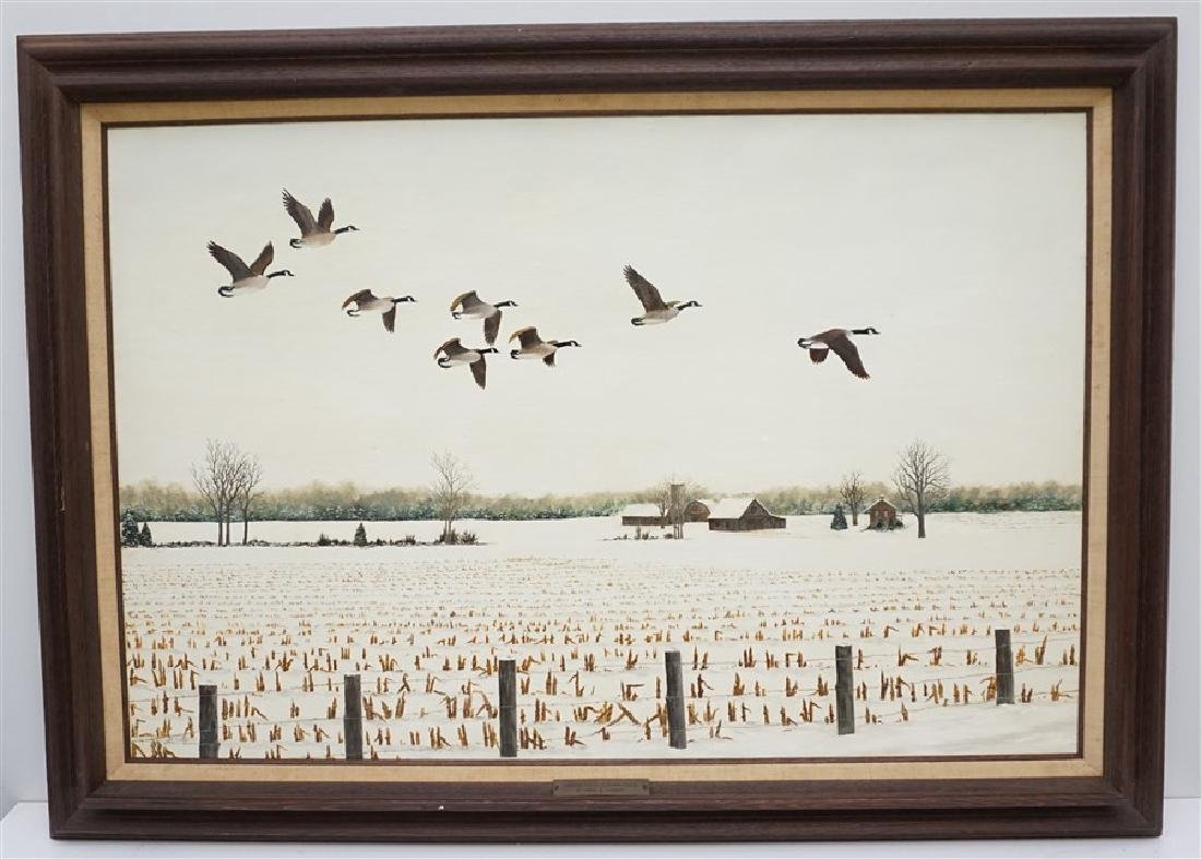 OIL ON BOARD WINTER FLIGHT CANADIAN GEESE
