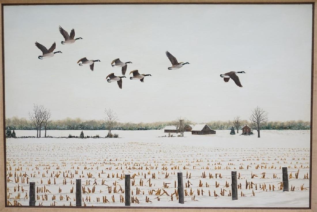 OIL ON BOARD WINTER FLIGHT CANADIAN GEESE - 2