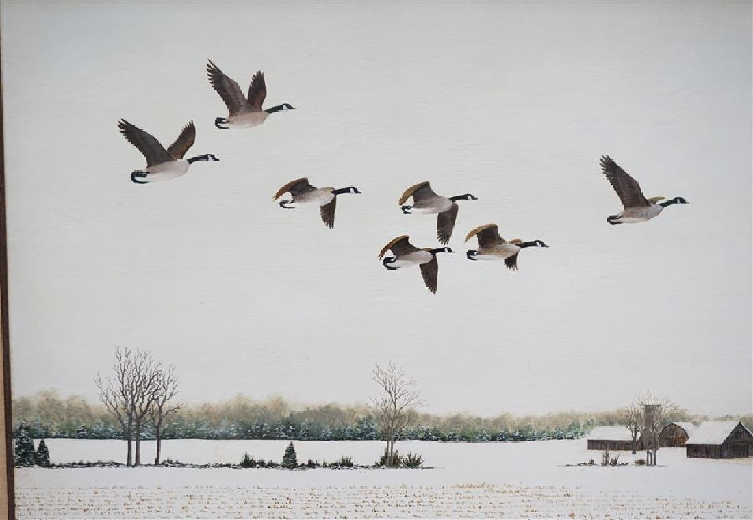 OIL ON BOARD WINTER FLIGHT CANADIAN GEESE - 3