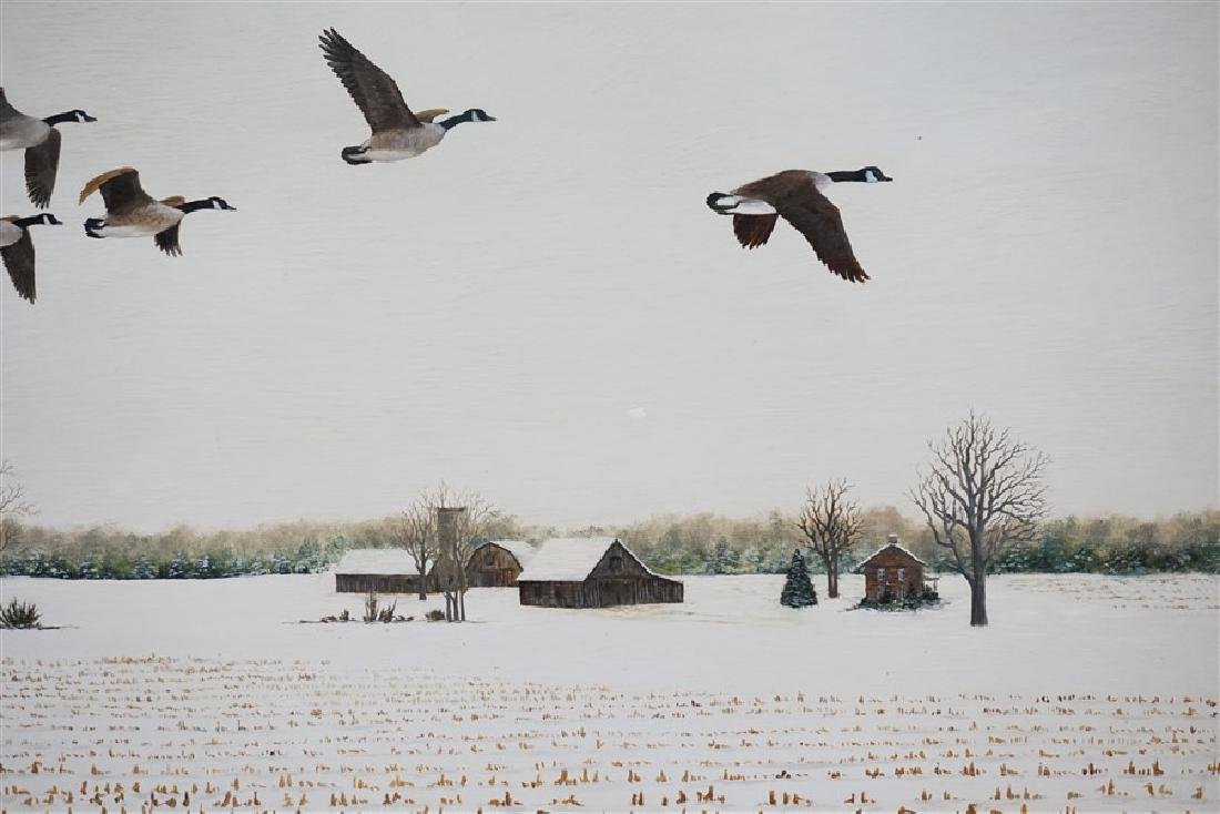 OIL ON BOARD WINTER FLIGHT CANADIAN GEESE - 4