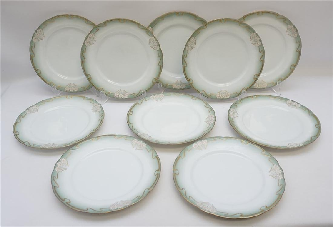 10 ART NOUVEAU DINNER PLATES GILT DAISY