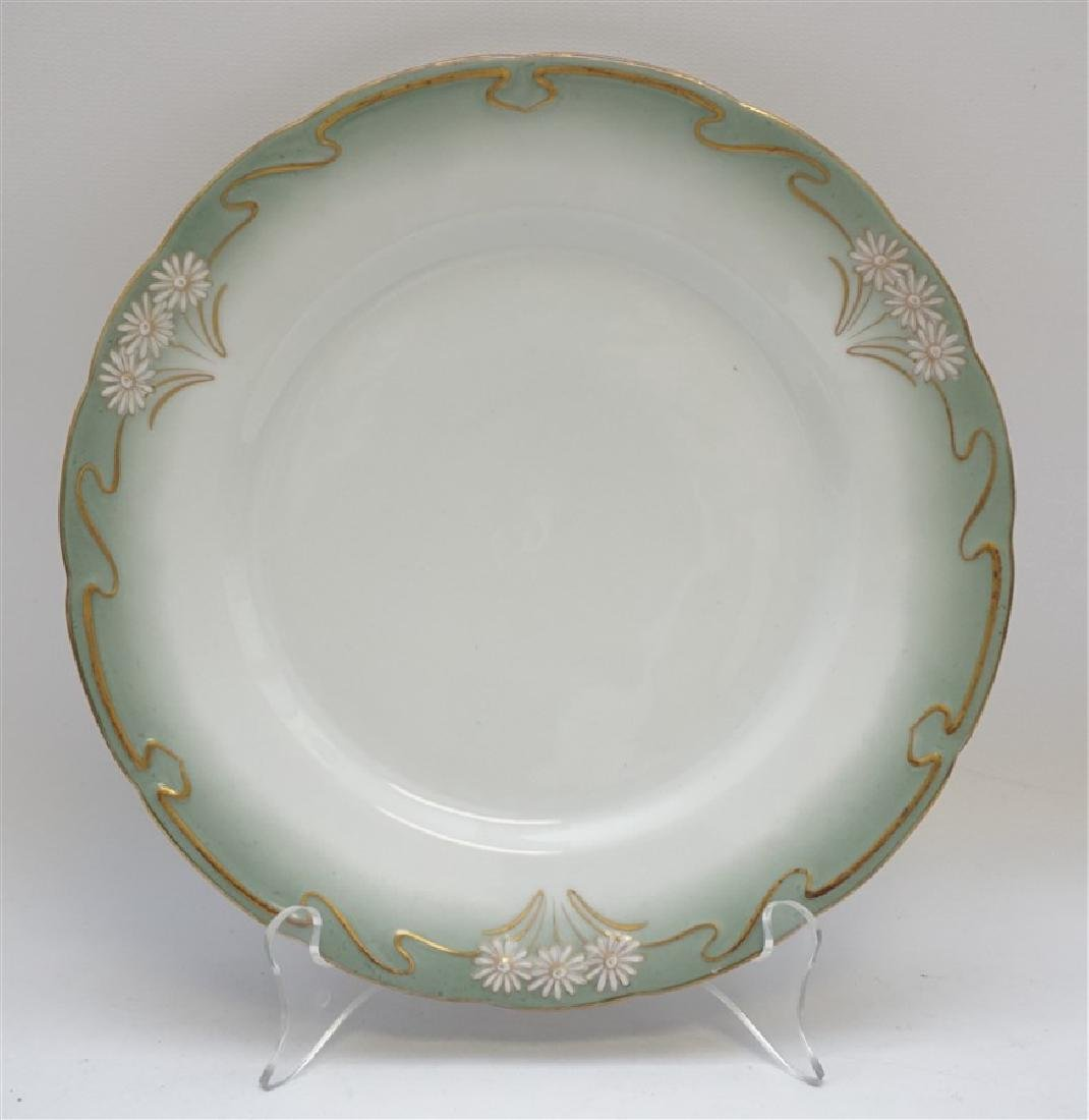 10 ART NOUVEAU DINNER PLATES GILT DAISY - 2