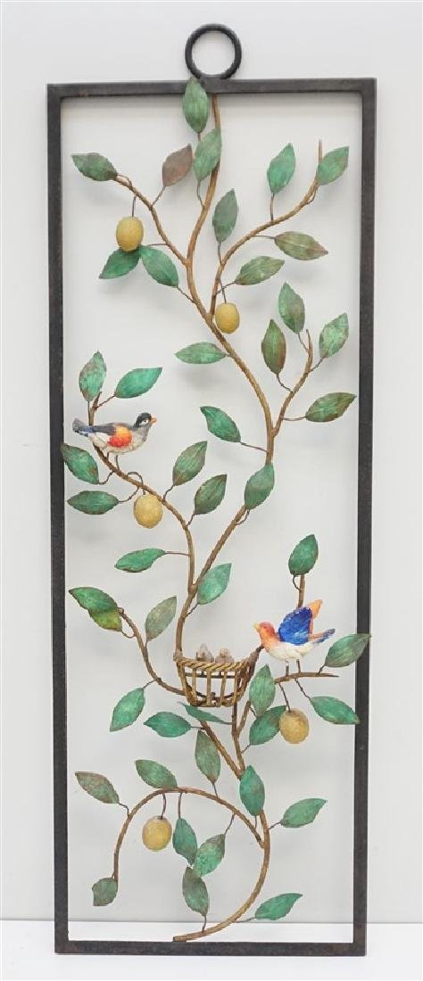 LARGE ITALIAN TOLE LEMON TREE BIRDS WALL PANEL