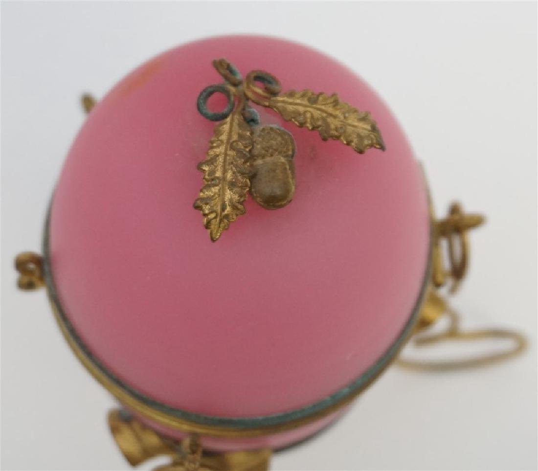 ANTIQUE FRENCH PINK OPALINE SCENT BOTTLE - 3