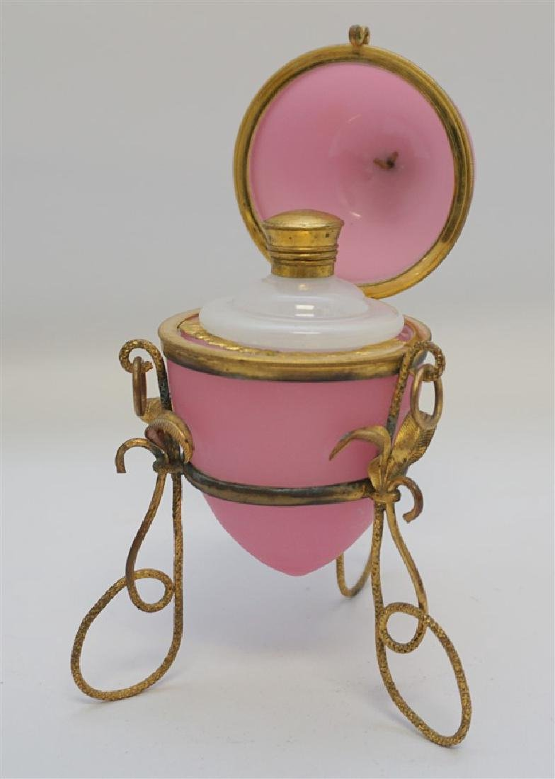 ANTIQUE FRENCH PINK OPALINE SCENT BOTTLE - 4