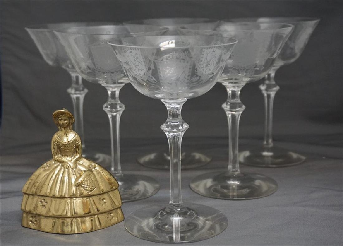 6 ELEGANT ERA ETCHED CRYSTAL FAIRY CHAMPAGNES - 6