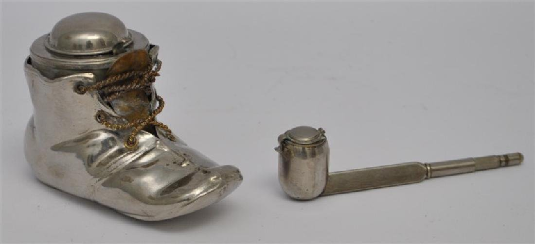 2 ANTIQUE FIGURAL TRAVELING INKWELLS