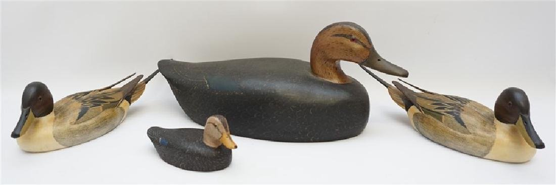 4 SIGNED CARVED DUCK DECOYS - BURNS & MORGAN