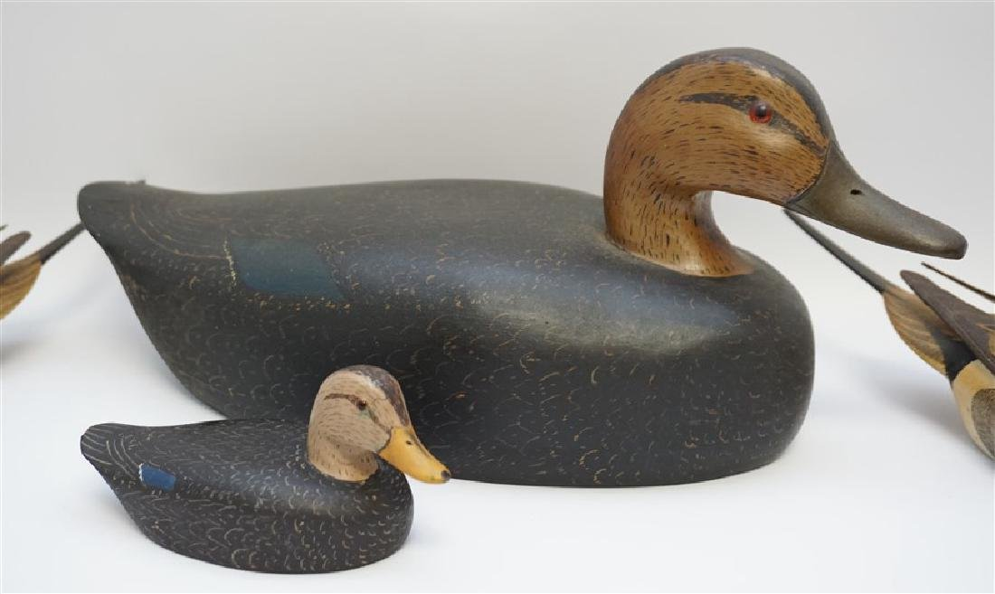 4 SIGNED CARVED DUCK DECOYS - BURNS & MORGAN - 2