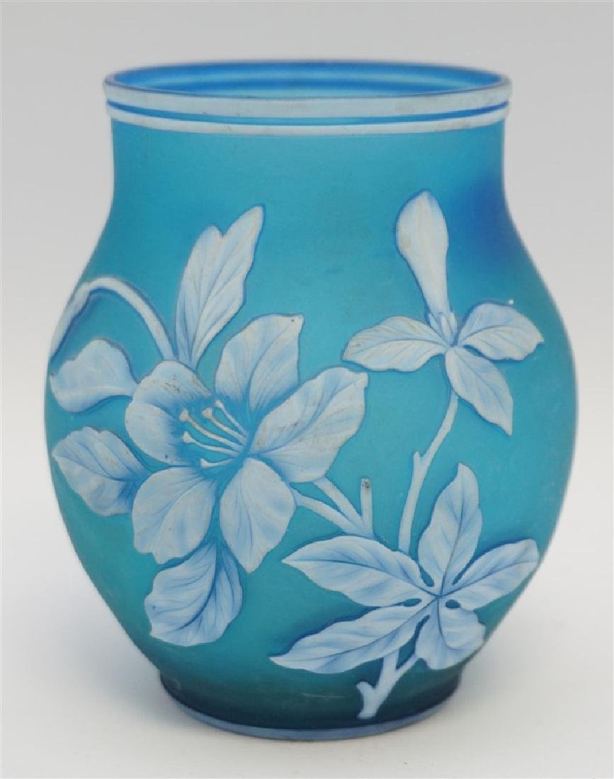 THOMAS WEBB & SONS BLUE GLASS VASE