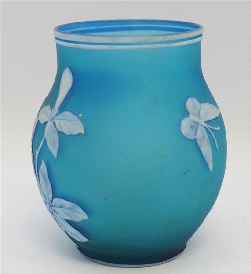 THOMAS WEBB & SONS BLUE GLASS VASE - 2