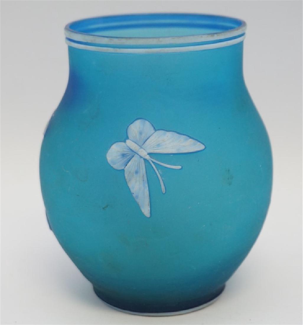 THOMAS WEBB & SONS BLUE GLASS VASE - 3
