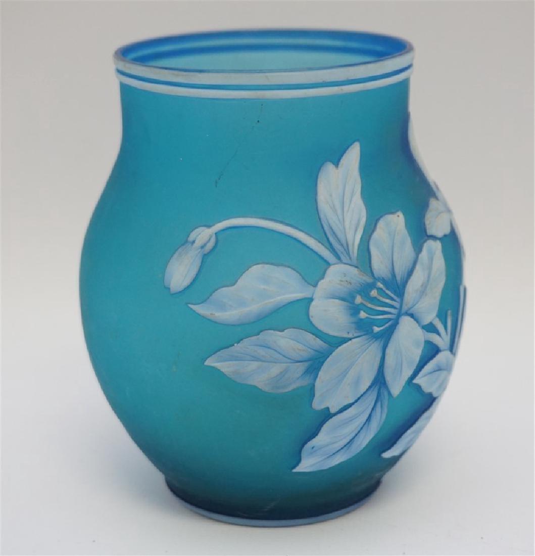 THOMAS WEBB & SONS BLUE GLASS VASE - 5