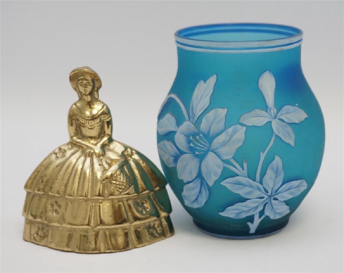 THOMAS WEBB & SONS BLUE GLASS VASE - 7