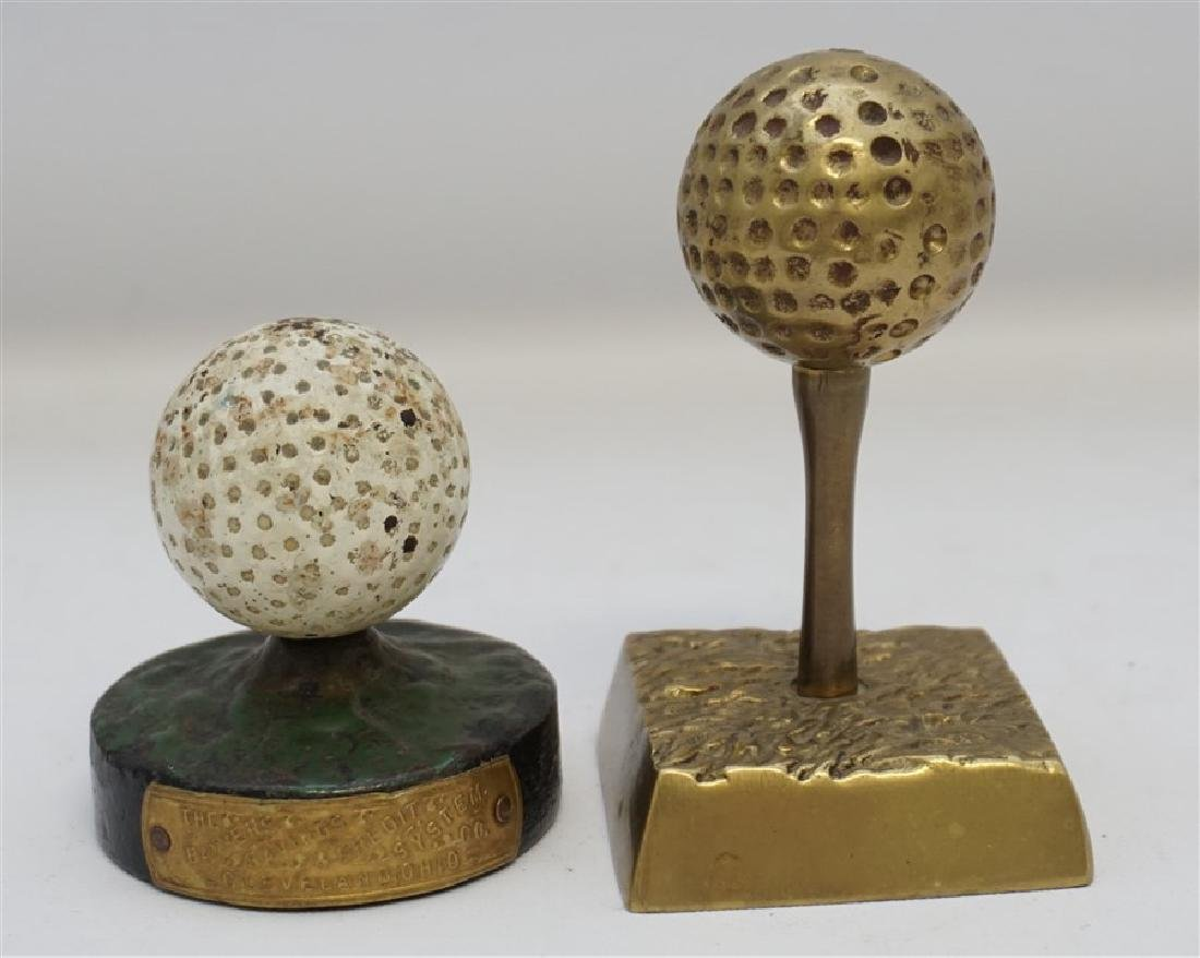 2 GOLF BALL PAPERWEIGHTS - DICKY GRABLER CAST IRON
