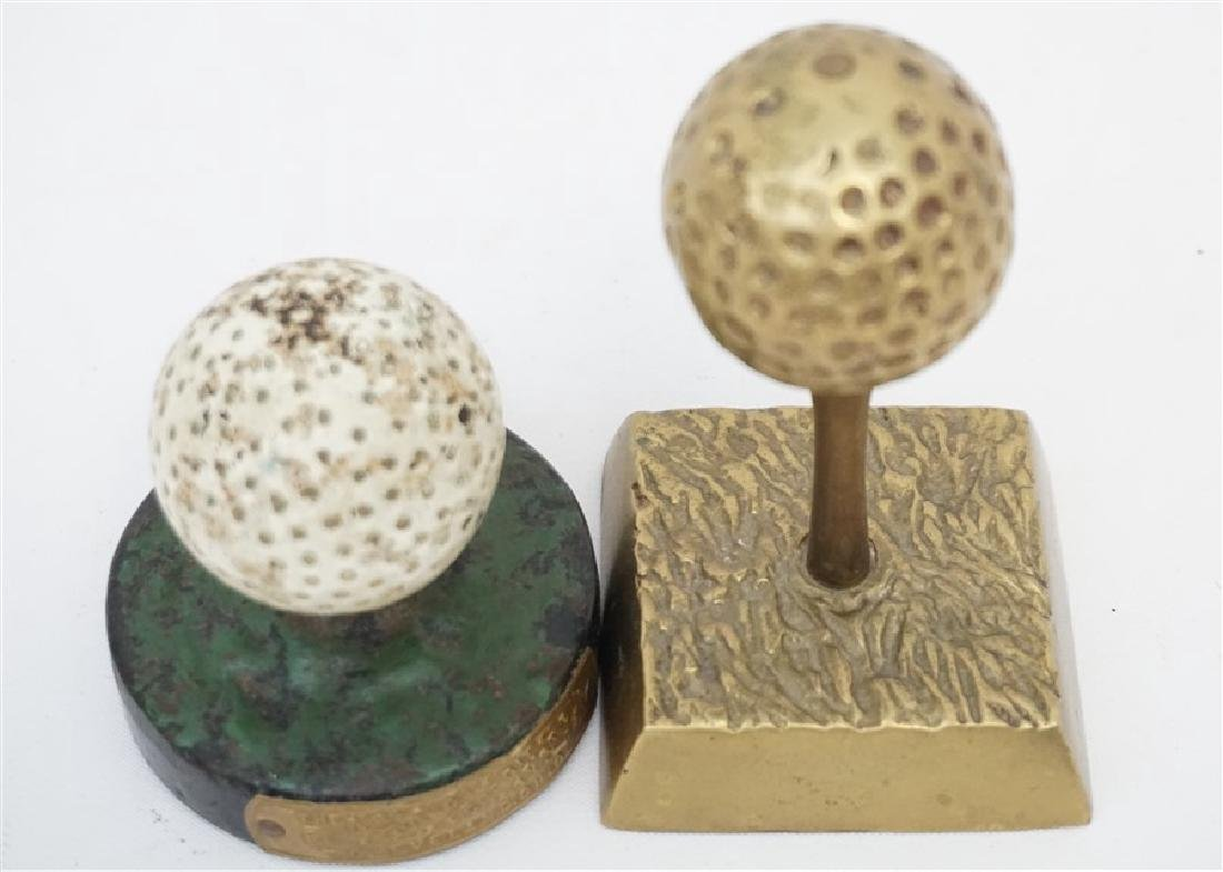 2 GOLF BALL PAPERWEIGHTS - DICKY GRABLER CAST IRON - 3