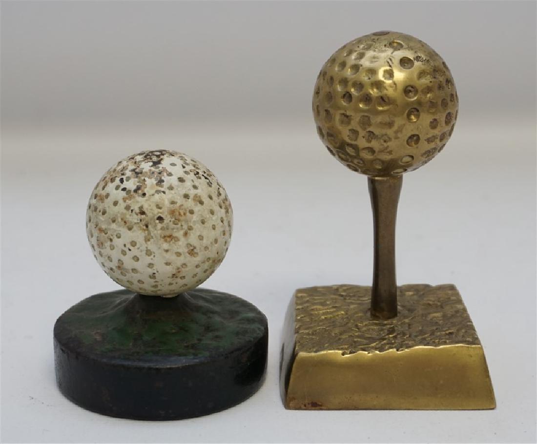 2 GOLF BALL PAPERWEIGHTS - DICKY GRABLER CAST IRON - 4