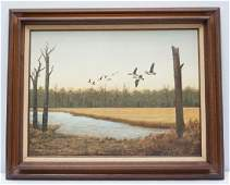 OIL ON BOARD CANADIAN GEESE DORIS M SIMMONS