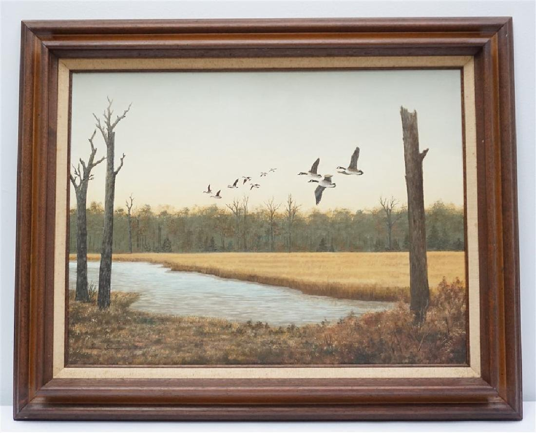 OIL ON BOARD CANADIAN GEESE DORIS M. SIMMONS