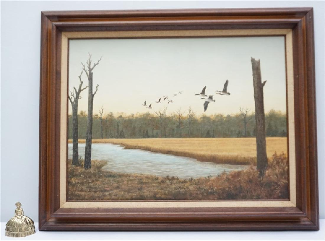 OIL ON BOARD CANADIAN GEESE DORIS M. SIMMONS - 6