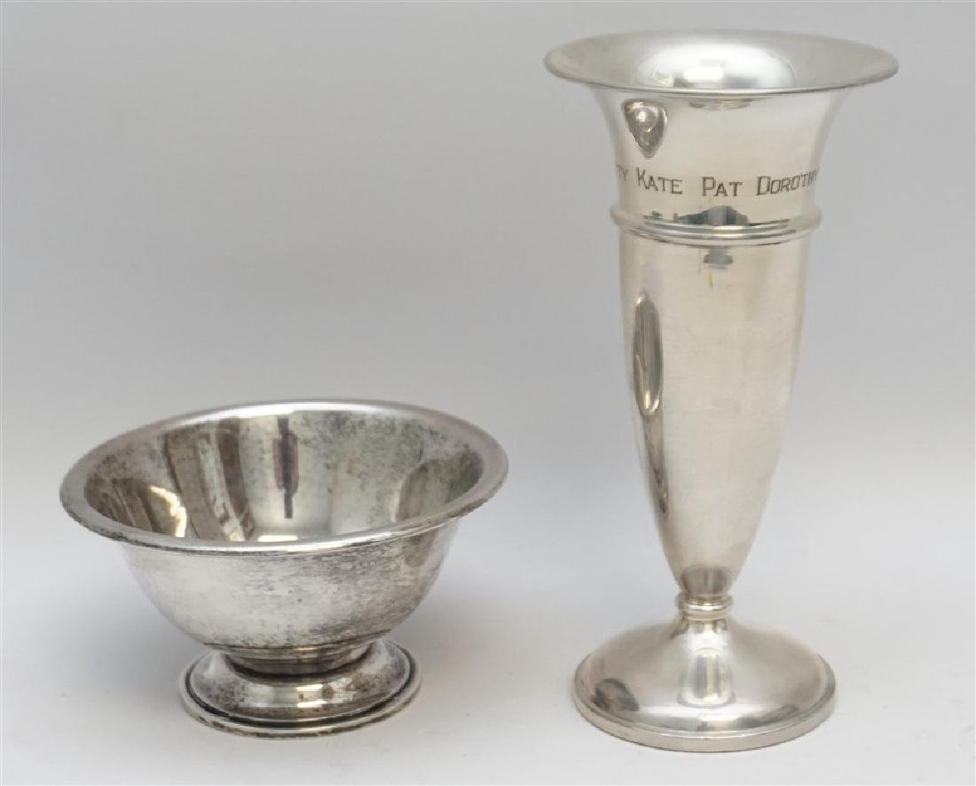 2 PC STERLING SILVER TRUMPET VASE & BOWL