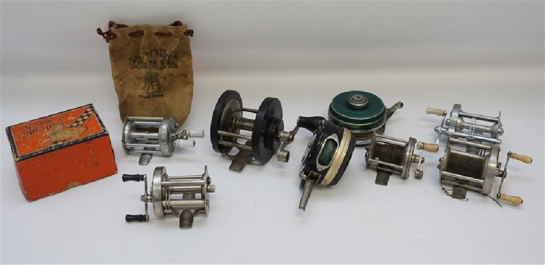 8 VINTAGE FISHING REELS - PFLUEGER - SHAKESPEARE
